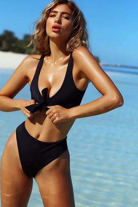 High waist solid bikini set