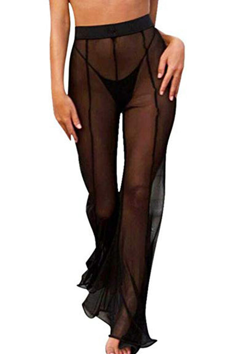 Mesh Swimsuit Cover Up Pant for Women See Through Bikini Bathing Suit Sheer Coverup Sexy Beach Swimwear