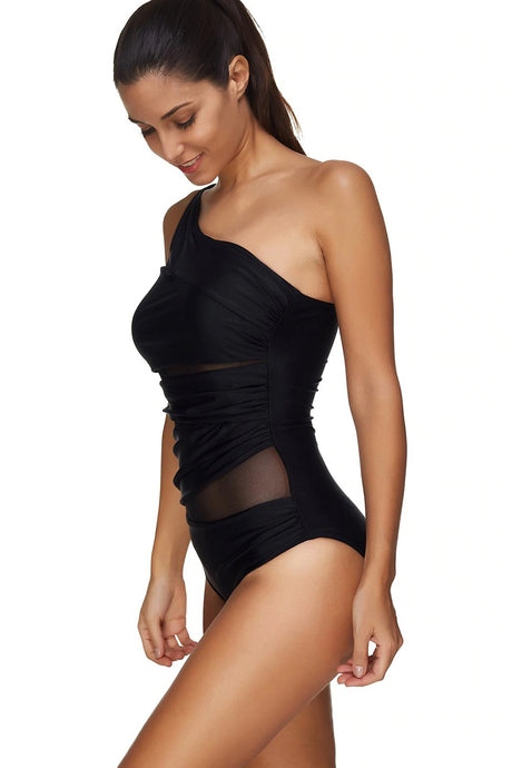 Mesh Panel One Shoulder Padded Swimsuit