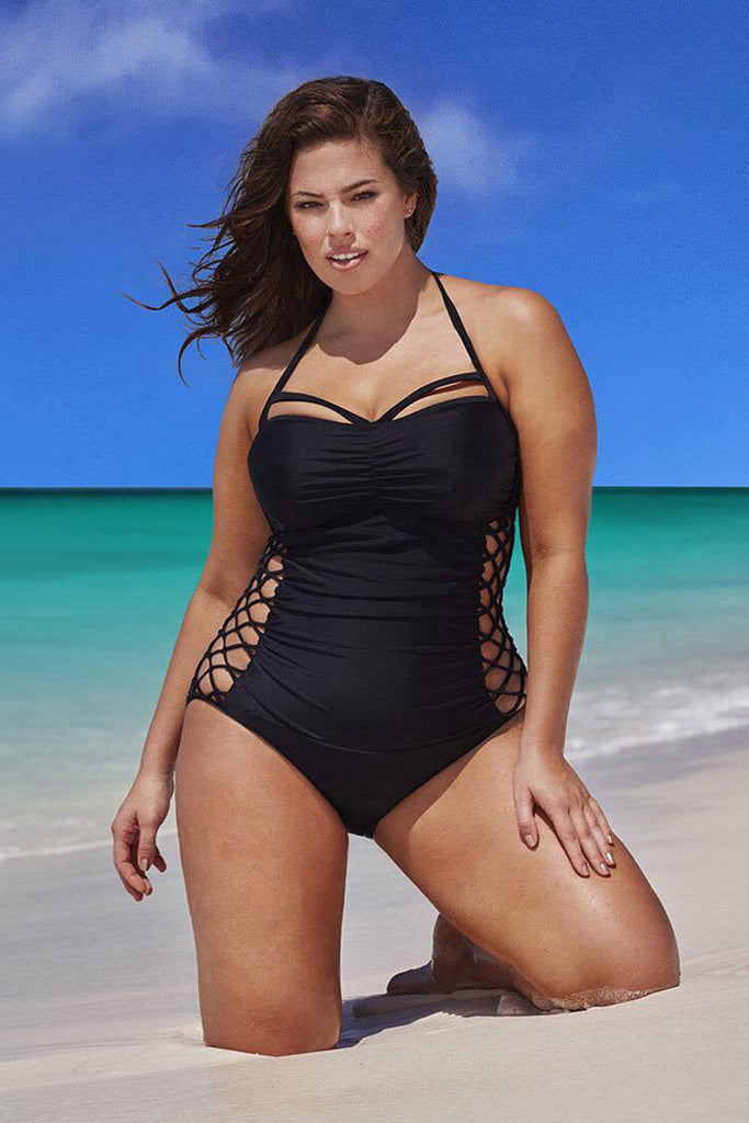 PLUS SIZE CRISSCROSS STRAPPY RUCHED ONE PIECE SWIMSUIT