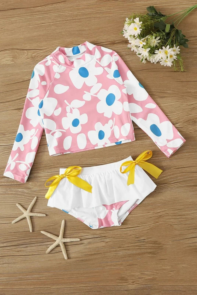 Toddler Girls Floral Print Long Sleeve Tankini