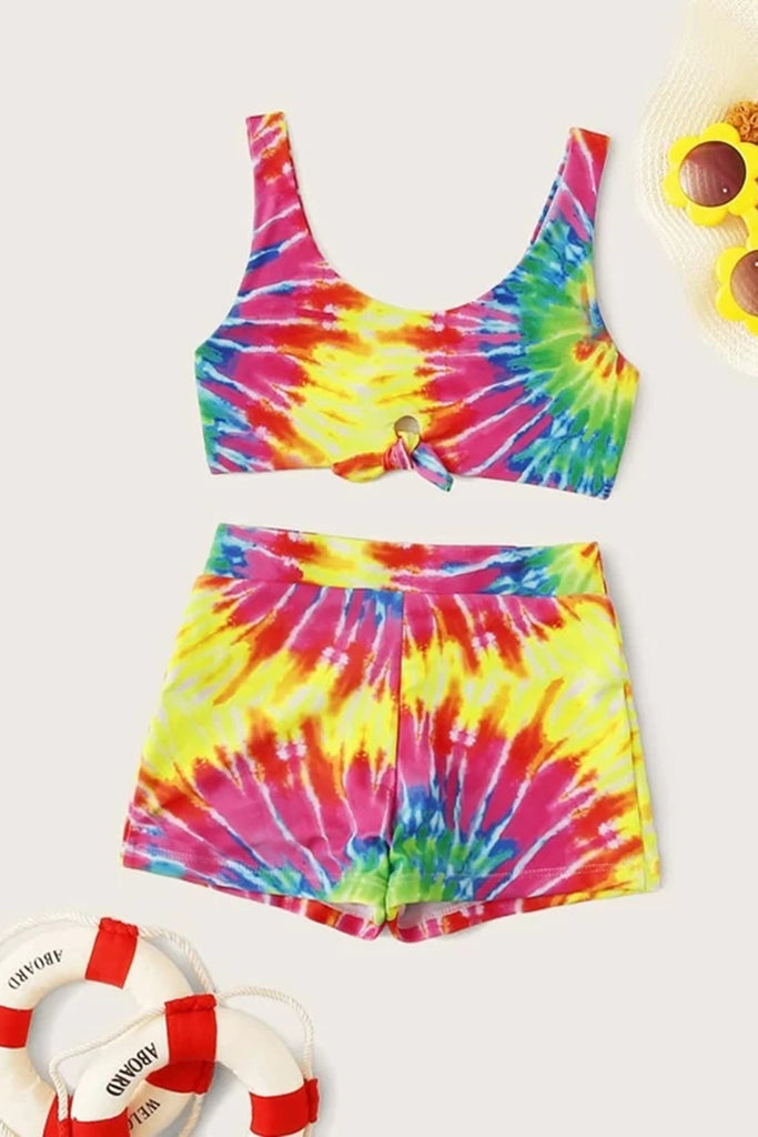Girls Tie Dye Knot Front Top With Shorts Bikini Set