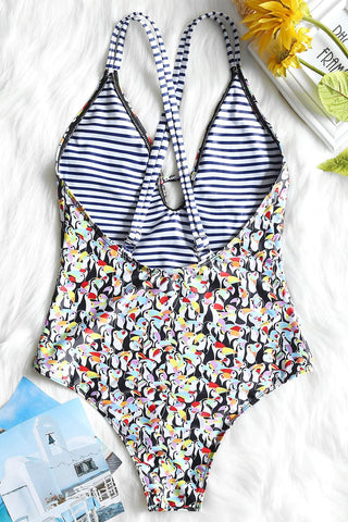 Penguin Print Deep V One-piece Swimsuit