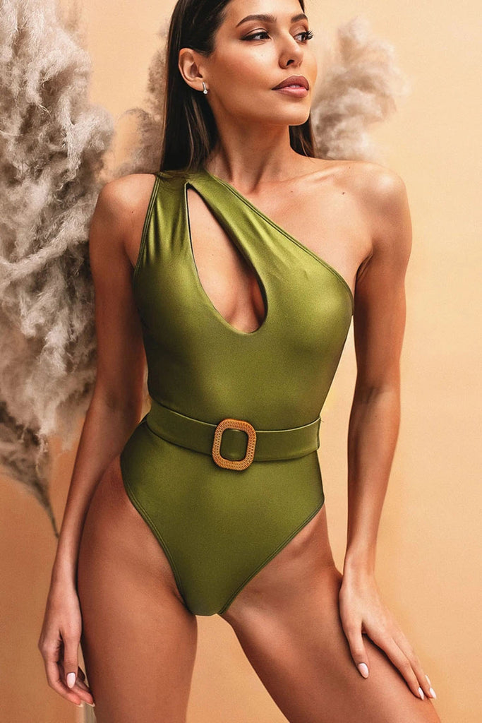 BELTED CUTOUT SINGLE SHOULDER ONE PIECE SWIMSUIT