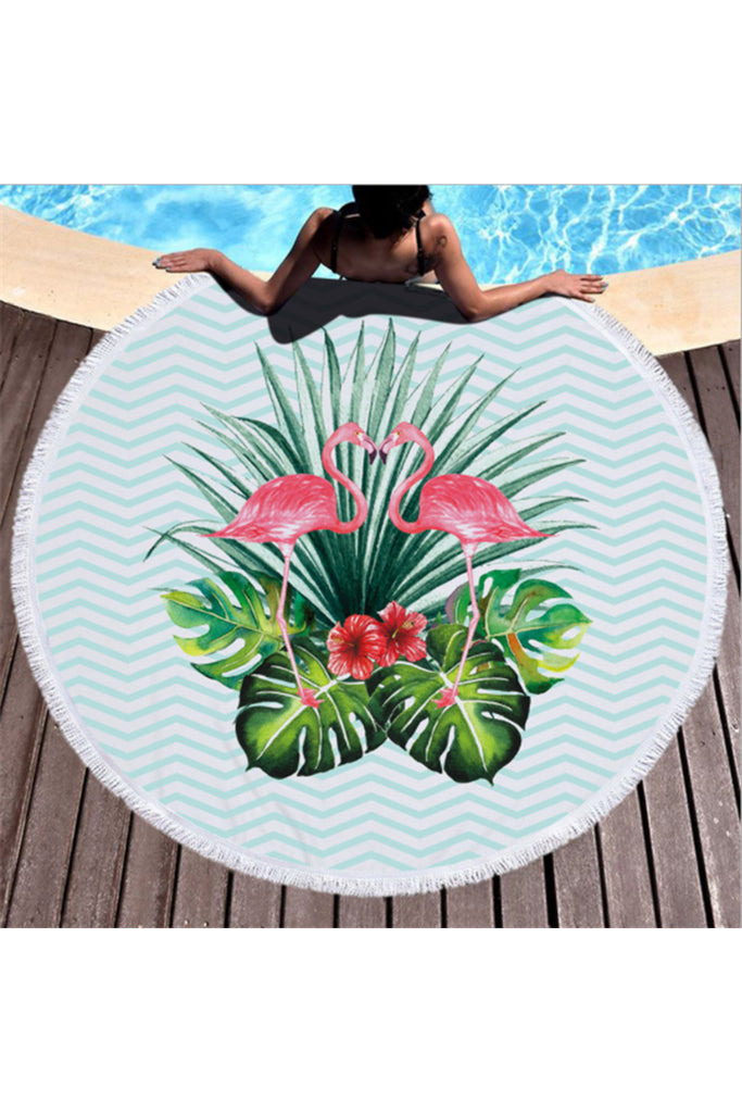 Hot Tropical Flamingo Round Beach Cover Up Beach Mat Towel Shawl Yoga Mat Summer Sarong Cloak Camping Mat