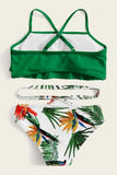 Girls Tiered Layer Top With Random Tropical Bikini