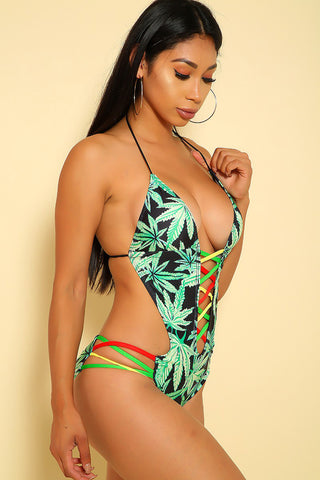 Sexy Green Strappy Open Back Pucker Back One Piece Swimsuit