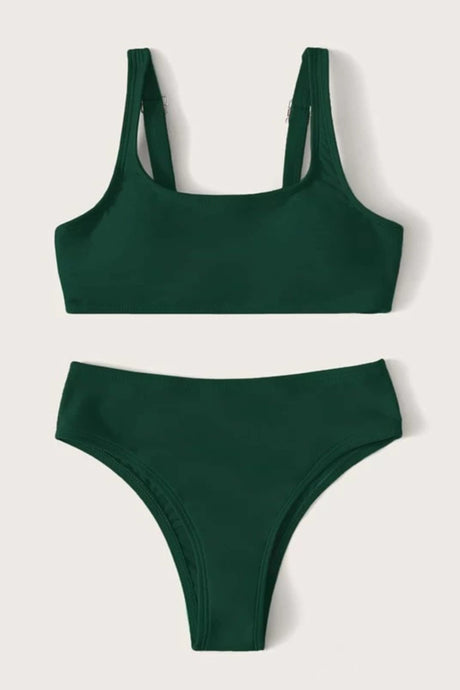 Girls Plain Adjustable Strap Bikini Set