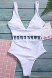 Iyasson White hollowed One-piece swimsuit