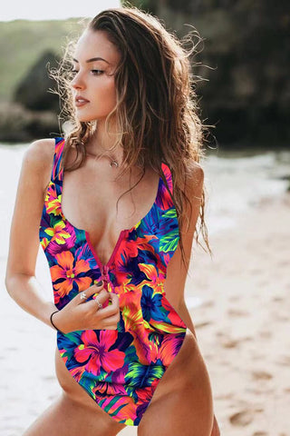 Floral printing zip up one piece swimsuit