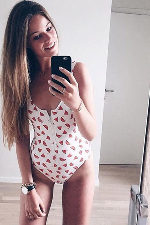Watermelon printing zip up one piece swimsuit