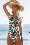 Women Vintage Shoulder Ruffle Swimwear