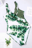 Women Vintage Retro Bathing Suit Shoulder Ruffle Swimwear