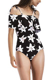 Iyasson Black Floral Print Falbala One-piece Swimsuit