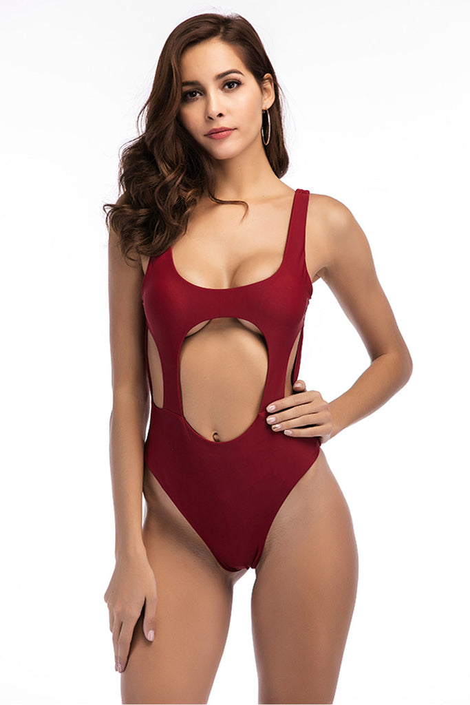 Iyasson Sexy Solid Color Hollow Front and Side One-piece Swimsuit