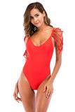 Iyasson Solid Color Tassel Shoulder One-piece Swimsuit