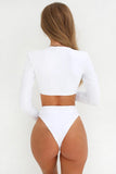 Iyasson Long Sleeve Deep V-neck One-piece Swimsuit