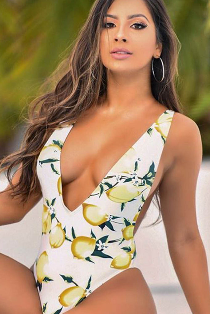 Iyasson Sexy Deep V-neck Lemon Print One-piece Swimsuit