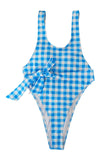 Iyasson Blue Grid Print Waist Tied One-piece Swimsuit