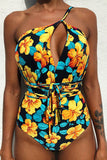 Iyasson Womens Sexy Printed Multi-Rope V-neck Halter One-piece Swimsuit