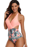 Iyasson Womens Sexy Printing V-Neck Hollow Halter One-piece Swimsuit