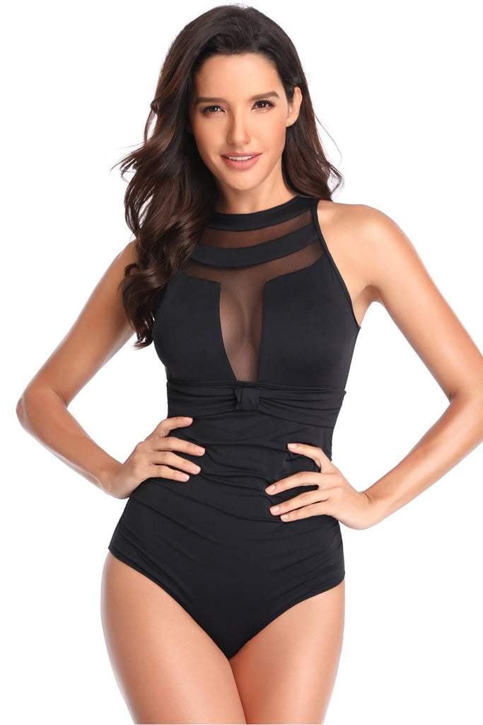 Iyasson Womens Sexy Mesh O-neck Hollow Hook One-piece Swimsuit