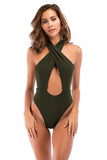 Iyasson Women's Sexy Cross Hollow Halter One-piece Swimsuit