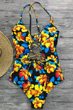 Iyasson Women's Sexy Floral Print Knotted Hollow One-piece Swimsuit