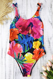 Iyasson Women's Sexy Floral Print Ruffle Trim One-piece Swimsuit