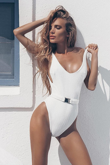 Iyasson Women's Sexy Deep V-Neck With Buckle Belt One-piece Swimsuit