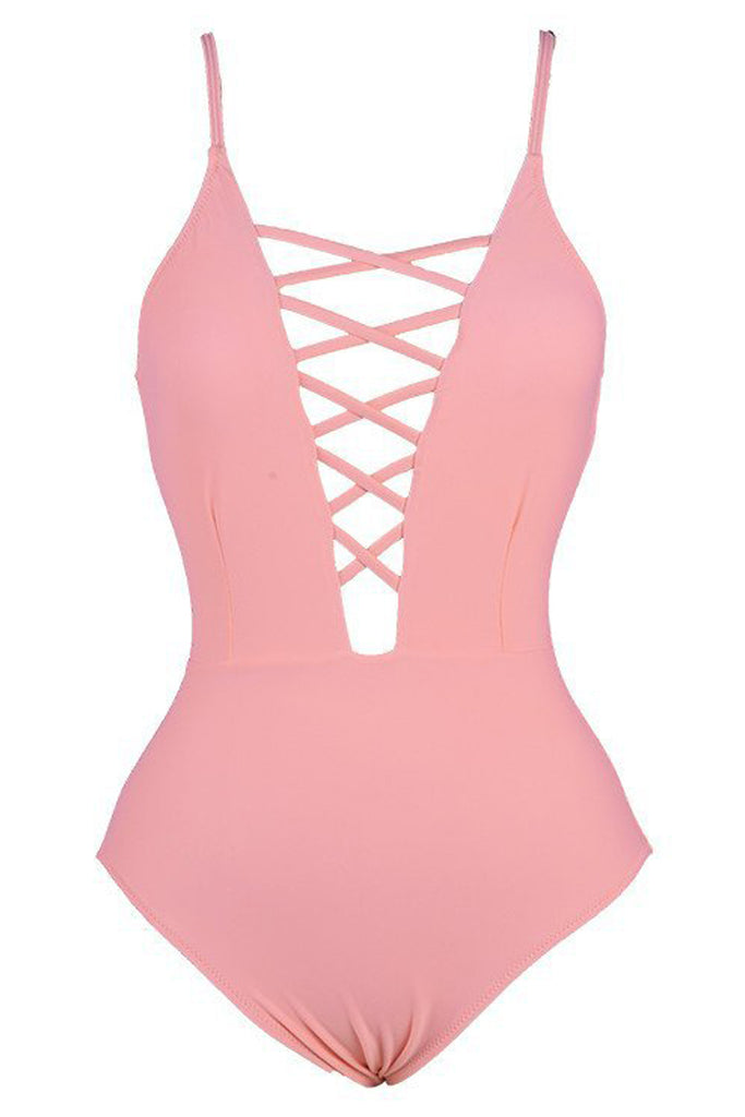 Iyasson Sweet Pink Lace Up One-piece Swimsuit