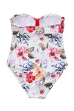 Iyasson White Floral Print Strappy One-piece Swimsuit