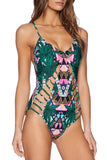Iyasson Floral Print Hollow Design One-piece Swimsuit