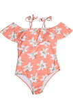 Iyasson Orange Floral Print Falbala One-piece Swimsuit