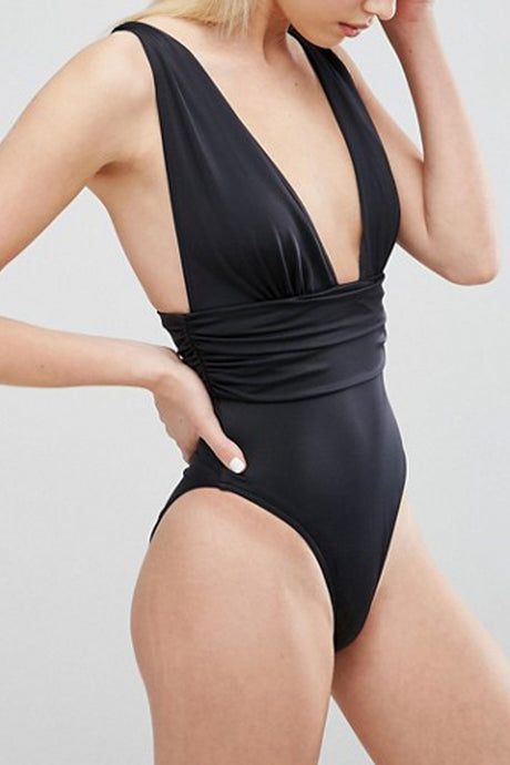 Iyasson Solid Color Deep V-neck One-piece Swimsuit