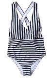 Iyasson Stripe Printing Cross Design One-piece Swimsuit