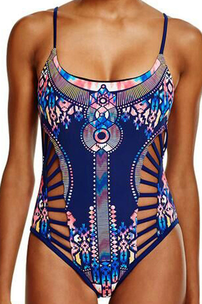 Iyasson Hollow Design Print One-piece Swimsuit
