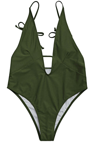 Iyasson Exquisite Green Halter One-piece Swimsuit
