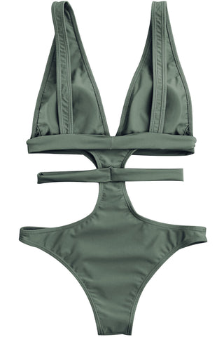 Iyasson Solid Color One-piece Swimsuit