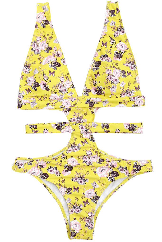 Iyasson Floral Printing One-piece Swimsuit