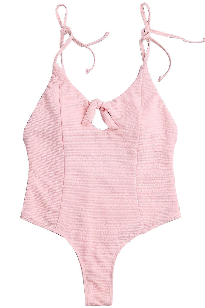 Iyasson Pink Solid Color Halter One-piece Swimsuit