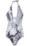 Iyasson Snakeskin Print Strappy Halter One-piece Swimsuit