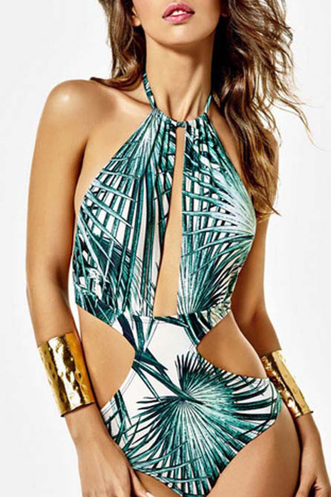 Iyasson Sexy Cutout Halter One-piece Swimsuit