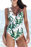 Iyasson Ocean Lush Grass Printing One-piece Swimsuit