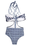 Iyasson Floral Printing Strappy Halter Bobo Bathing Suit