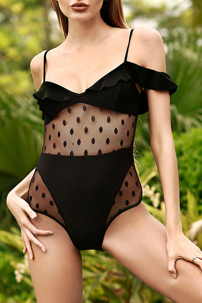 Iyasson Black  Falbala See Through  One-Piece Swimsuit