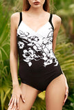 Iyasson Black and White Floral Printing One-piece Swimsuit