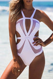 Iyasson Solid Color Mesh Splicing One-piece Swimsuit