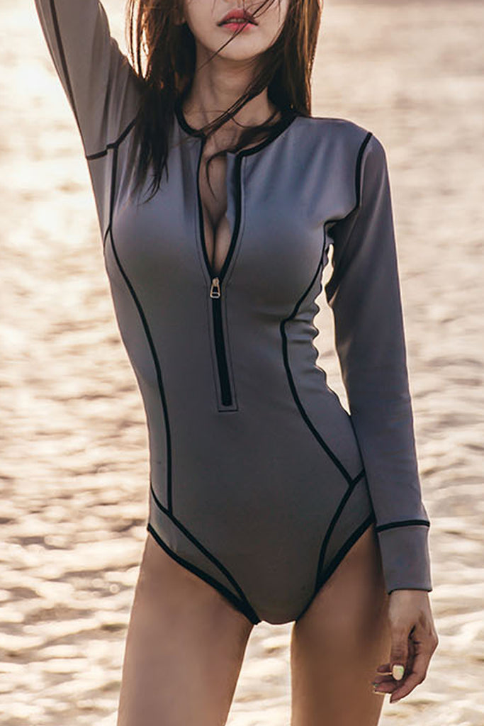 Iyasson Can't Miss This Long-sleeves Solid One-piece Swimsuit
