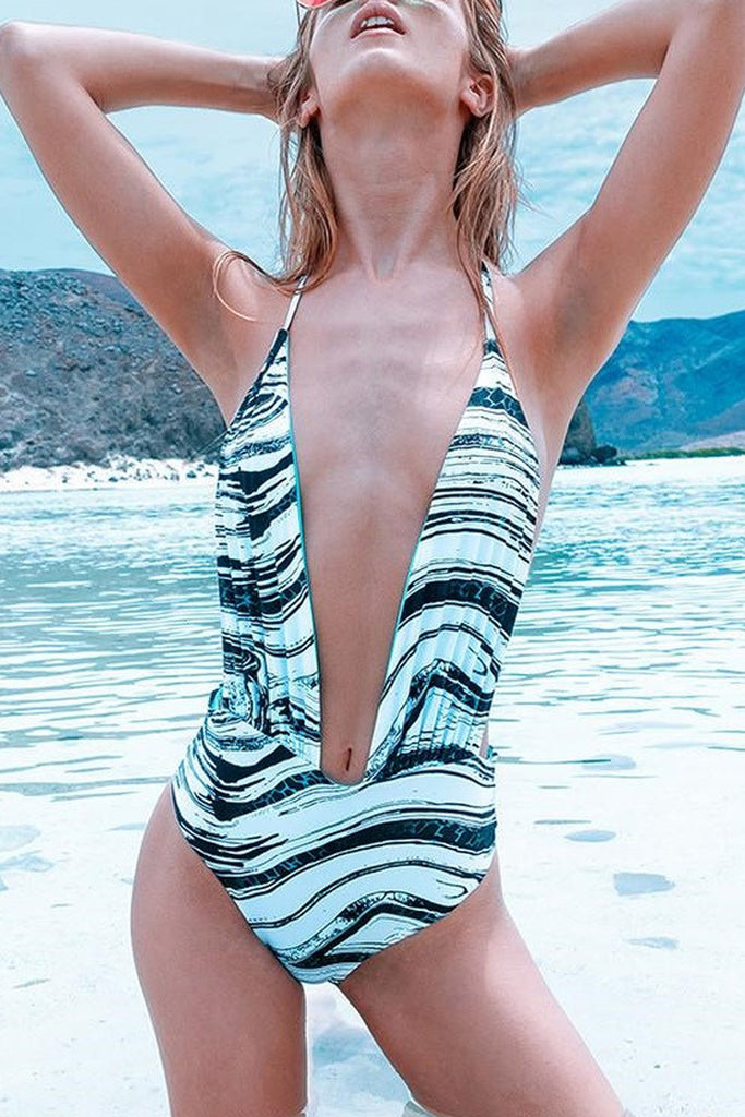 Iyasson Blue Stripe Printing Deep V-neck One-piece Swimsuit